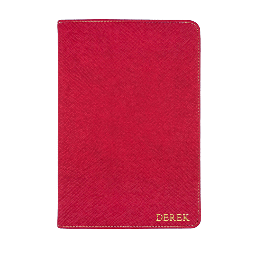 Red - Saffiano Leather A5 Notebook | Personalise | TheImprint Singapore