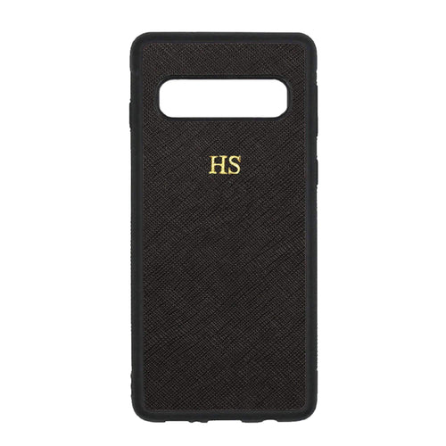 Black - Samsung S10 Saffiano Phone Case | Personalise | TheImprint Singapore