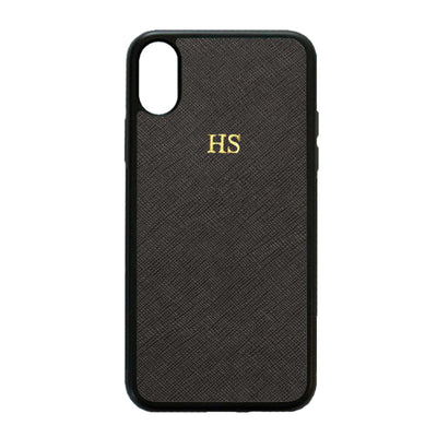 Black iPhone XS Max Saffiano Phone Case | Personalise | TheImprint Singapore