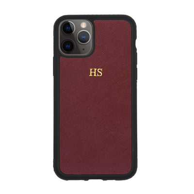 Burgundy iPhone 11 Pro Saffiano Phone Case | Personalise | TheImprint Singapore