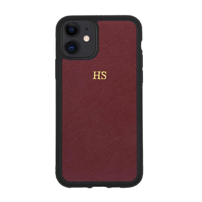 Burgundy iPhone 11 Saffiano Phone Case | Personalise | TheImprint Singapore