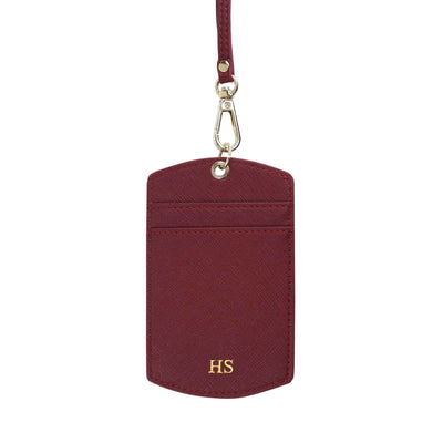 Burgundy - Saffiano ID Cardholder Lanyard | Personalise | TheImprint Singapore