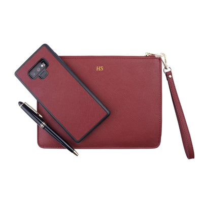 Burgundy - Small Saffiano Pouch | Personalise | TheImprint Singapore