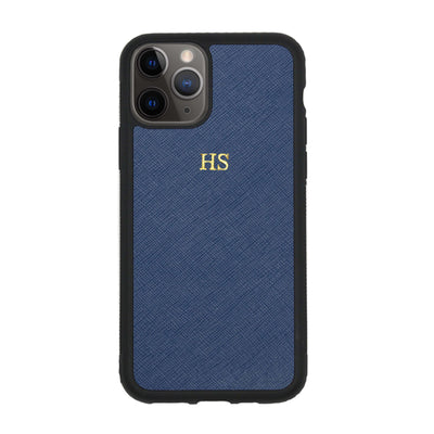 Navy iPhone 11 Pro Max Saffiano Phone Case | Personalise | TheImprint Singapore