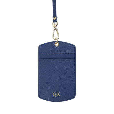 Navy - Saffiano ID Cardholder Lanyard | Personalise | TheImprint Singapore