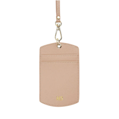 Nude - Saffiano ID Cardholder Lanyard | Personalise | TheImprint Singapore