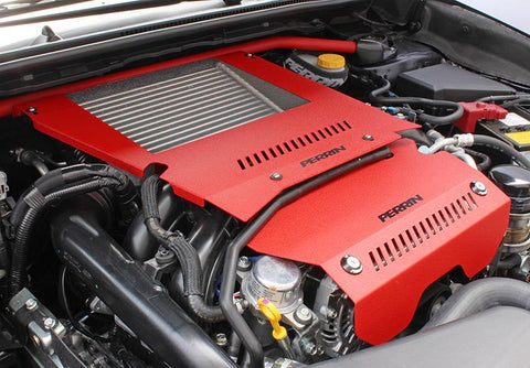 PERRIN (PSP-ENG-165RD) ENGINE COVER LOCKDOWN Intercooler Shroud and Belt Cover Kit 15-16 WRX Red