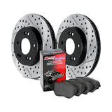 Street Pack - Slotted & Drilled Brake Rotors with Street Brake Pads and brake lines (Front and Rear) for Nissan Altima