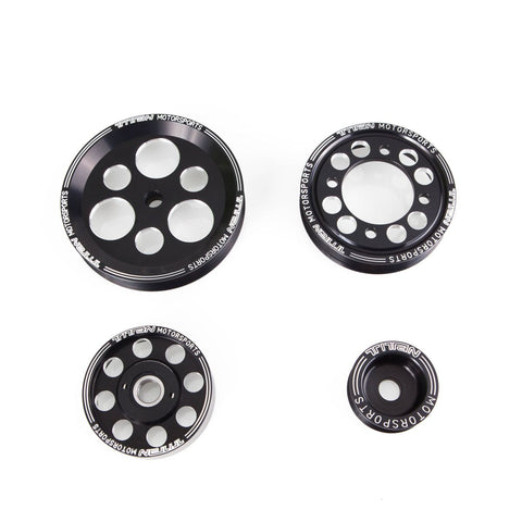 Titan Motorsports SUP-ENG-808 TITAN 4 Piece BLACK EDITION Billet Aluminum Pulley Set w/idler for 2jzgte (includes Alternator, P.S.