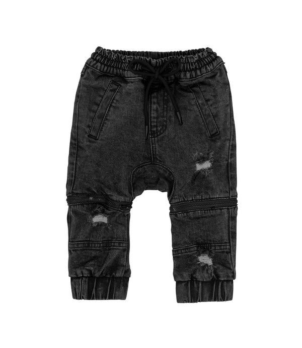 Streetwear style kids denim pants, convertible and multi way. Faded black denim jeans convert to shorts, with zips at the knees.