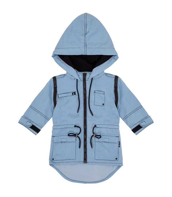 Streetwear style oversized look kids convertible multi-way parka in chambray blue. Arms of parka can be zipped off, to be worn as a sleeveless dress, or as a vest.