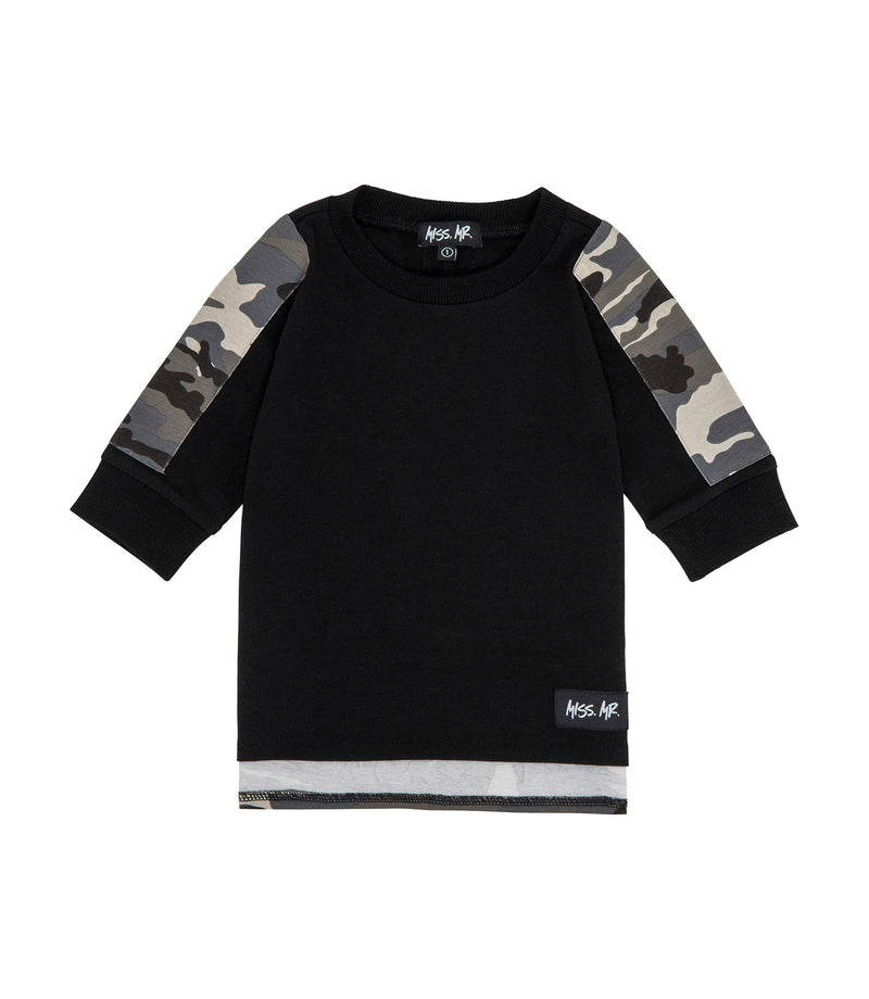 Streetwear style kids 100% cotton black tee/t-shirt, with camo print along arms and on drop/step hem to the back, and a white 'Got Attitude' screen print.