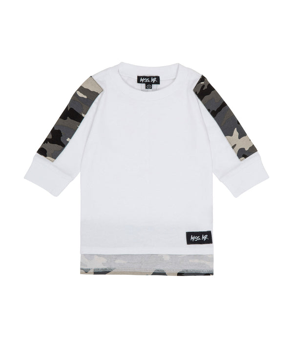Streetwear style kids 100% cotton white tee/t-shirt, with camo print along arms and on drop/step hem to the back, and a white 'Got Attitude' screen print.