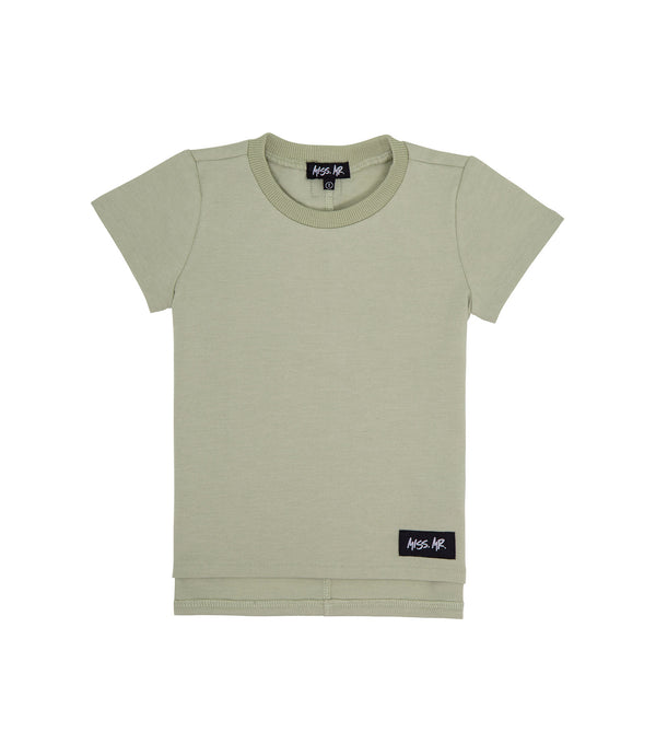 Streetwear style kids oversized basic tee in olive colour, with step/dip/drop hem