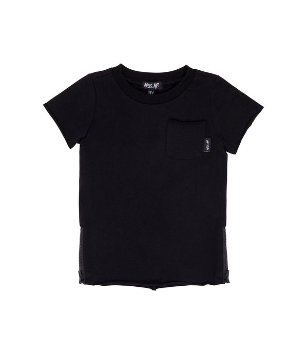 Streetwear style kids oversized raw edged tee in black colour, with step/dip/drop hem, and matte black zips to each side of tee