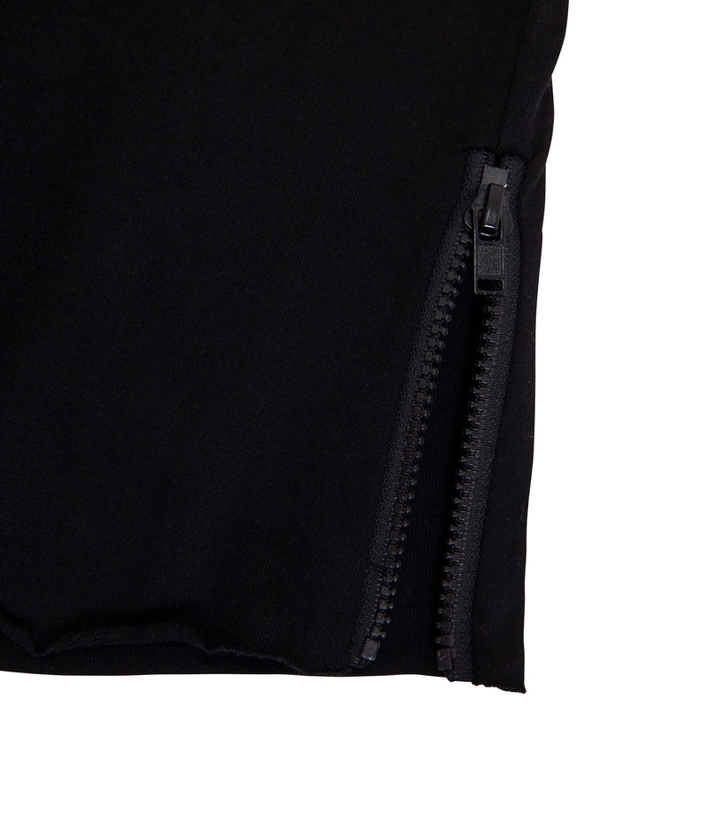 Zipped Raw Tee Black