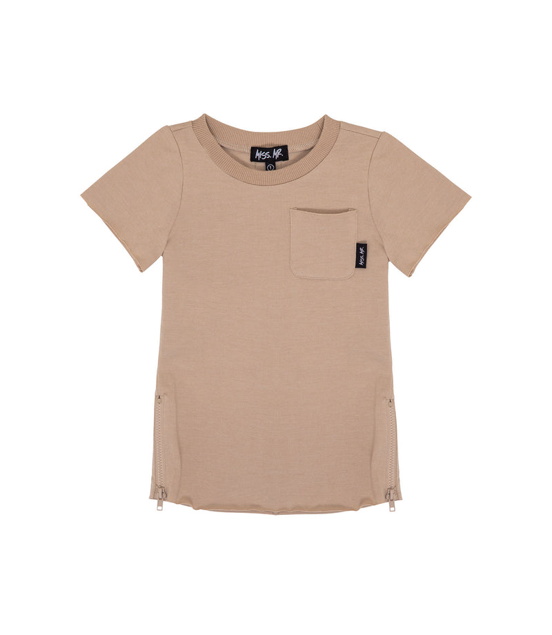 Streetwear style kids oversized raw edged tee in taupe colour, with step/dip/drop hem, and matte taupe zips to each side of tee