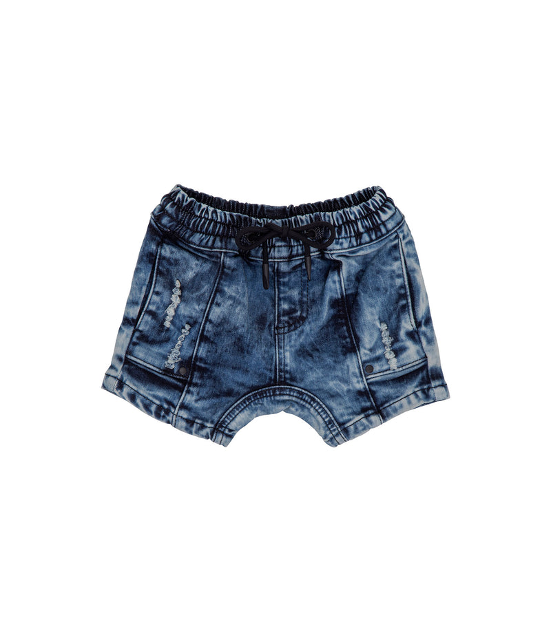 Streetwear style kids denim blue acid wash cropped short, with slight drop crotch and matte black hardware.