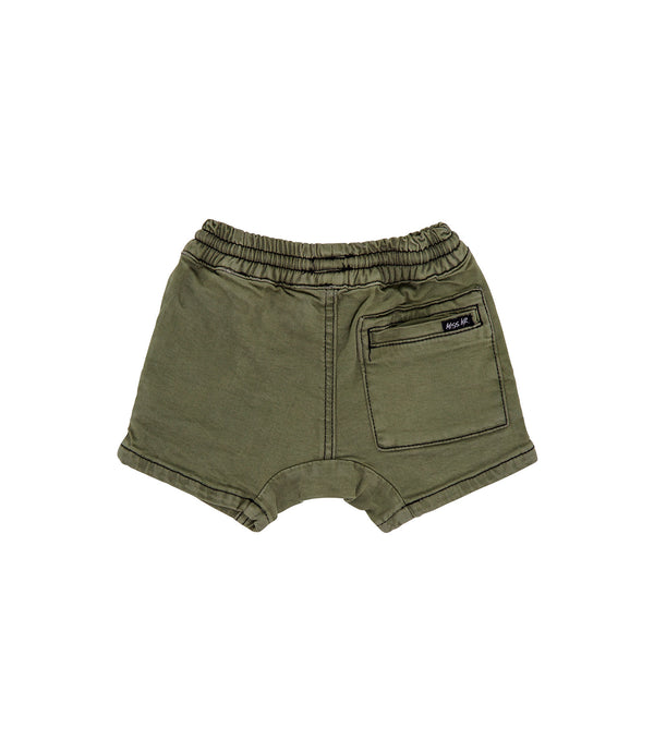 Streetwear style kids denim khaki cropped short, with slight drop crotch and matte black hardware.