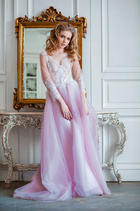 Dusty pink color long dress Elise