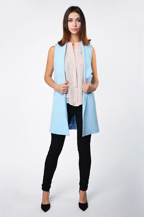 Blue long jacket with pockets