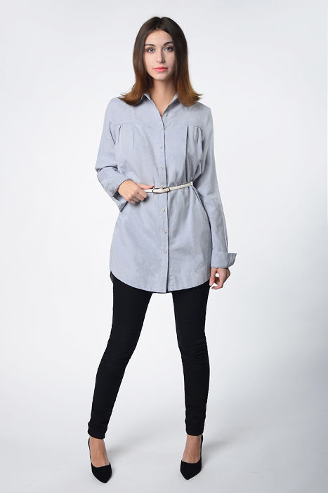 Dress-shirt of dense gray linen