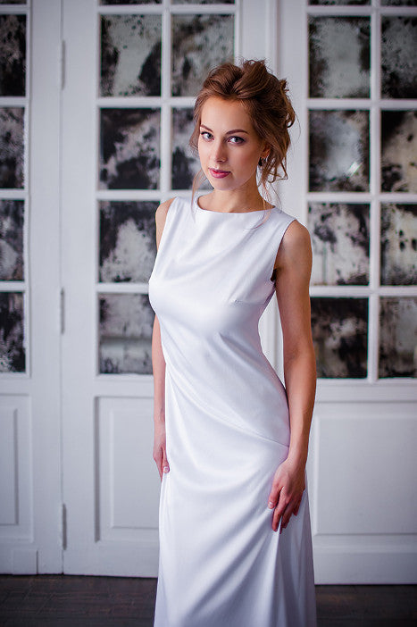 White satin long dress Minimalism