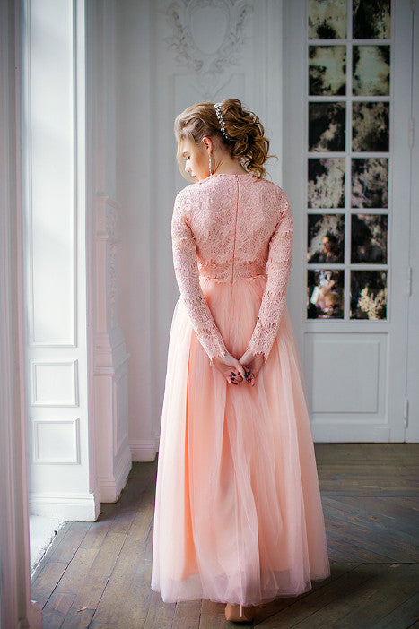 Peach color long lace dress Mary