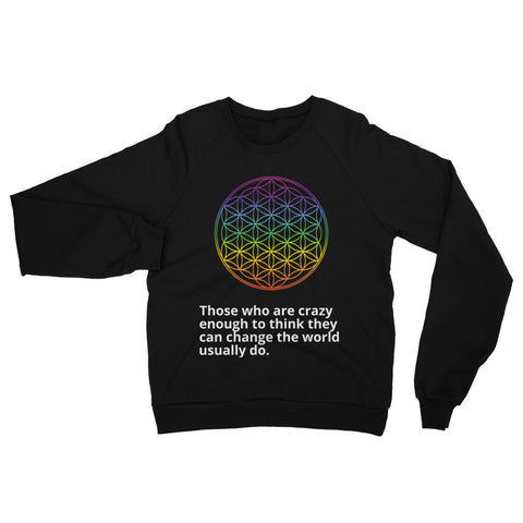 Flower Of Life Positive Change Unisex California Fleece Raglan Sweatshirt