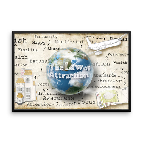 The Law Of Attraction Manifest Your Dreams Framed photo poster