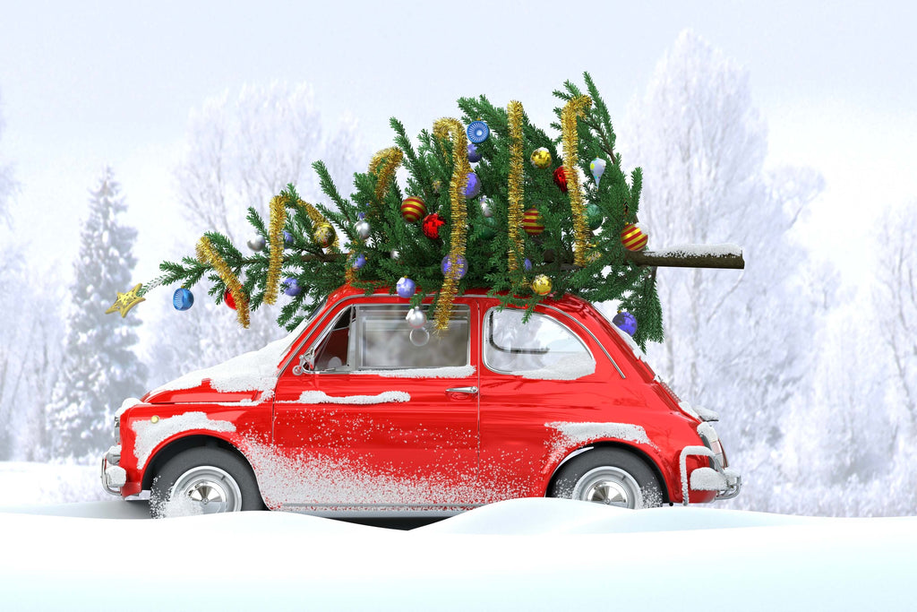 Red car with a christmas tree on top