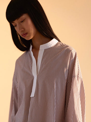 June Shirt Cocoa Stripe - Sykes London