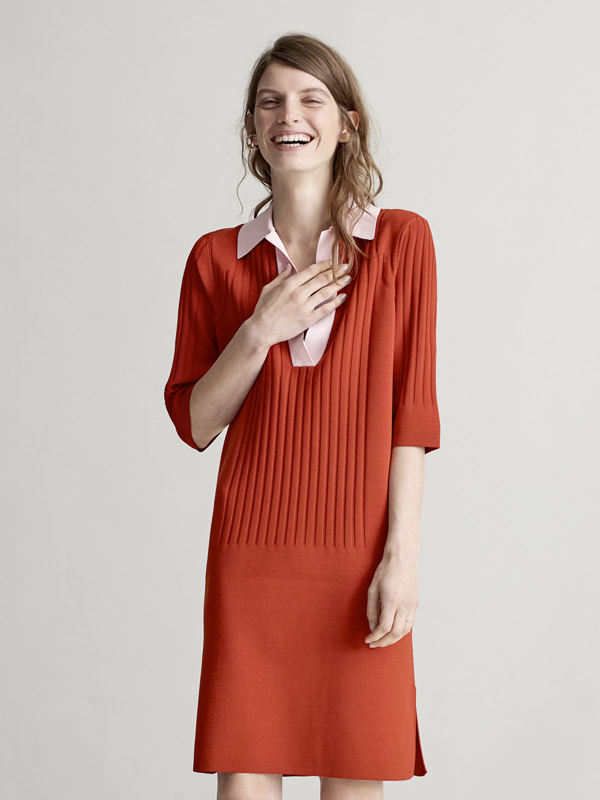 Everly Burnt Orange Polo Dress - Sykes London