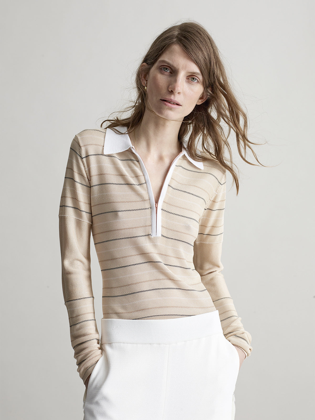 Emerson Polo Top, Cream - Sykes London