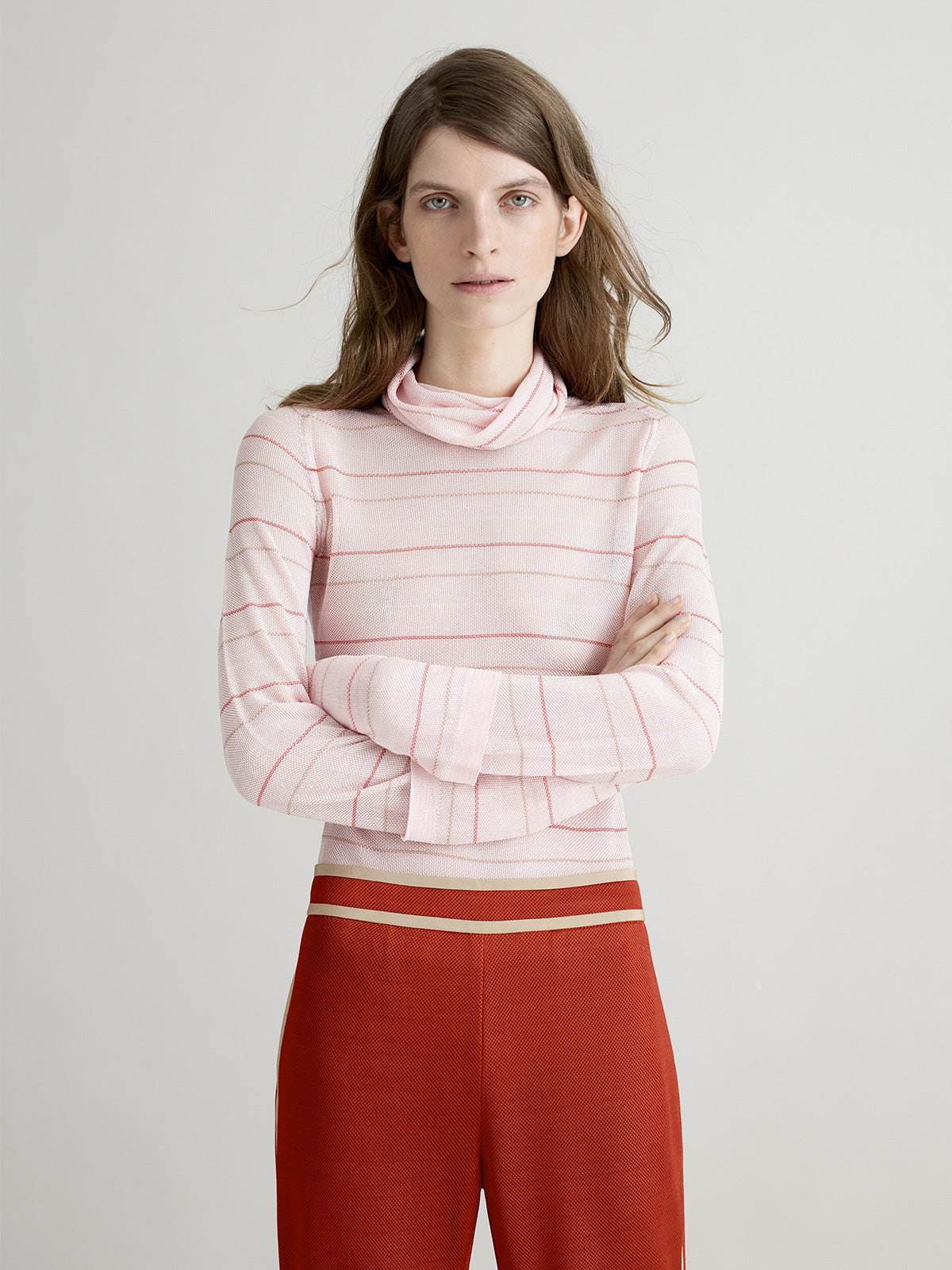 Tulip Pink Stripe Polo Neck Top - Sykes London