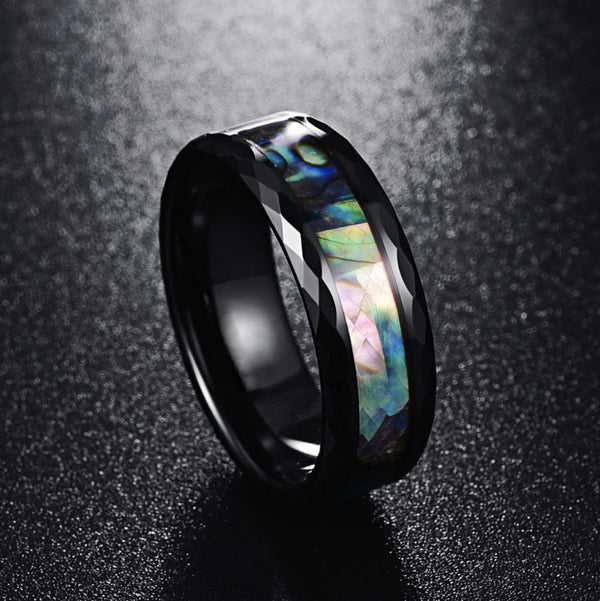Black Faceted Abalone Ring (FREE)
