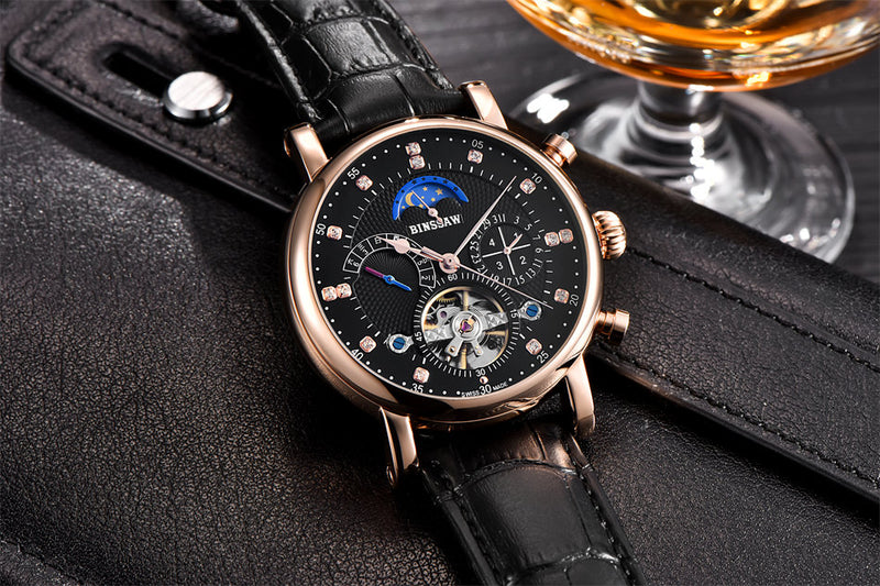 Luxury Mechanical Dual Time Skeleton Watch - Silk & Cotton