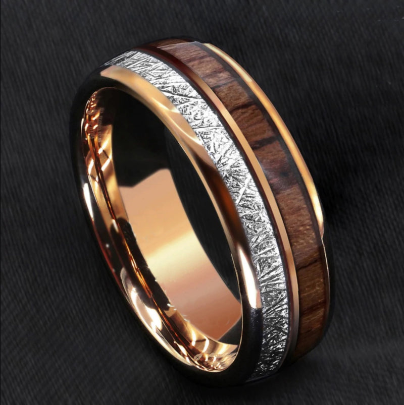 Rose Gold Koa Wood Ring - Silk & Cotton