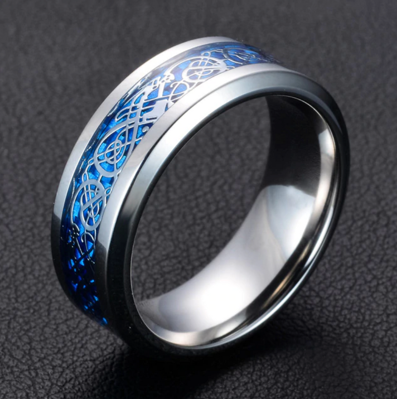 Dragon Ring - Silver & Blue - Silk & Cotton