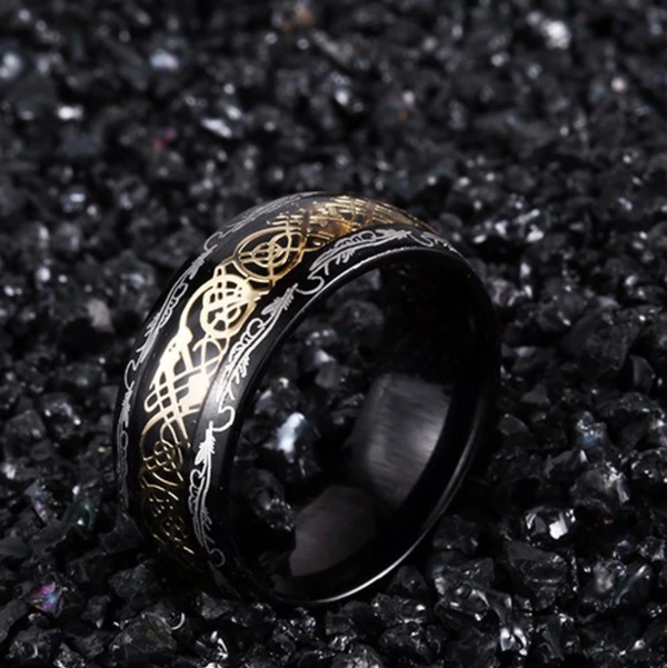 NEW Dragon Ring - Gold & Black - Silk & Cotton