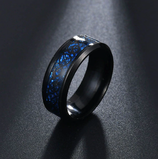Dragon Ring - Black & Blue - Silk & Cotton