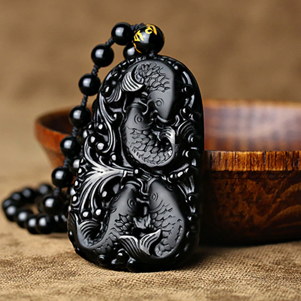 Koi Fish Obsidian Amulet - Silk & Cotton