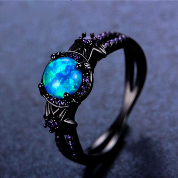 Blue Fire Opal Moon Ring - Silk & Cotton