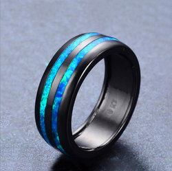 Blue Fire Opal Line Ring - Silk & Cotton