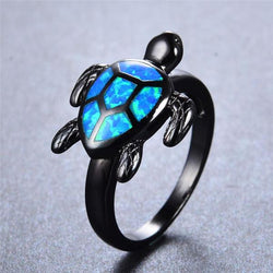 Blue Fire Turtle Opal Ring - Silk & Cotton