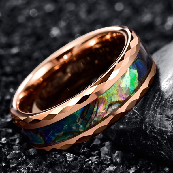 Rose Gold Faceted Abalone Ring (FREE)
