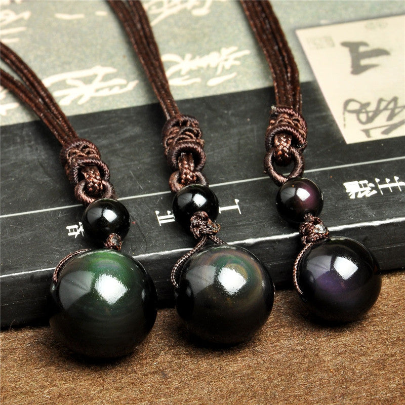 Black Obsidian Eye Necklace - Silk & Cotton