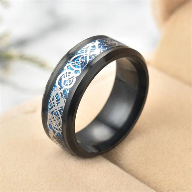 Dragon Ring - Blue & Silver - Silk & Cotton
