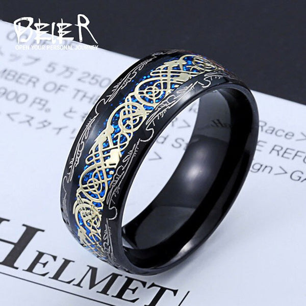 NEW Dragon Ring - Blue & Gold - Silk & Cotton
