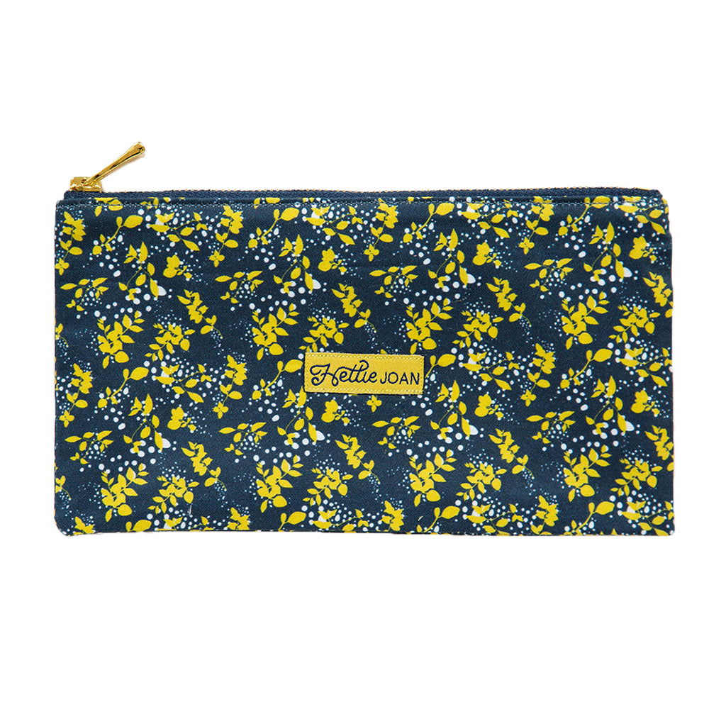 Navy Garden Medium Pouch